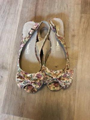 Peep Toe ballerina's licht beige-roze