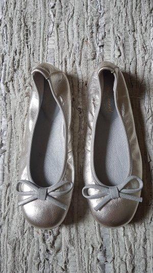 Bonpoint Ballerina di pelle verniciata argento