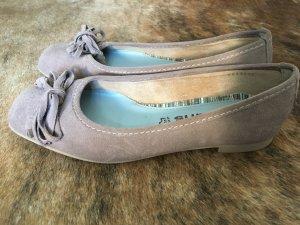Tamaris Peep Toe Ballerinas cream-beige suede