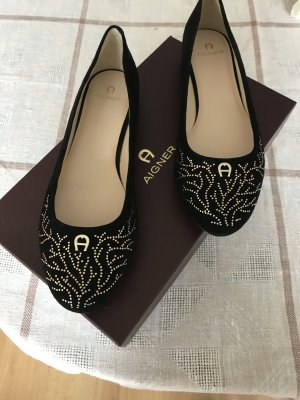 Aigner Mary Jane Ballerinas black leather