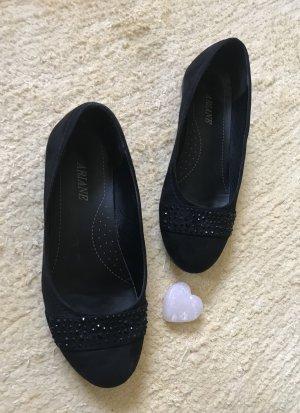 Ballerinas von Ariane Gr. 36 in schwarz mit Strasssteinen