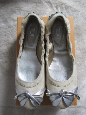 Foldable Ballet Flats oatmeal-silver-colored suede