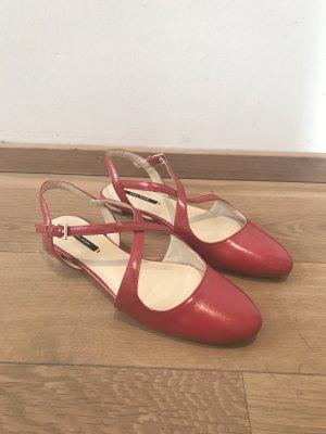 Zara Ballerines à lacets rouge