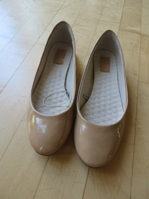 Zara Patent Leather Ballerinas gold-colored imitation leather
