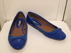 Zara Ballerines en cuir verni bleu