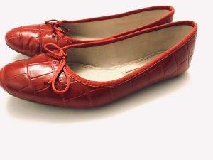 Ballerinas von Zara, rot, krokoprint, Gr. 40