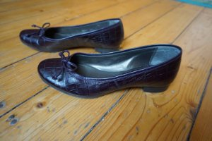 Zanon & Zago Patent Leather Ballerinas black-dark violet leather