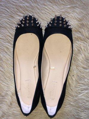 Zara Bailarinas sin talón negro-color oro