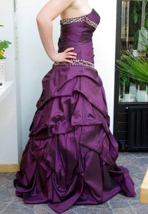 Ballkleid Abendkleid Cocktailkleid mit Corsage Strasssteine Glitzer und Schleppe dress purple lila