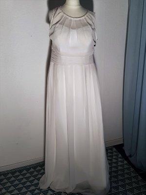 Ballkleid Abendkleid Swing Chiffon Gr 42 Cremeweiß Neu mit Etikett!