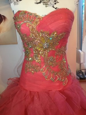Ball Dress bright red mixture fibre