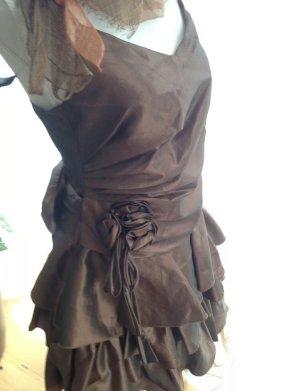 Ballkleid Abschluss Cocktailkleid Kleid mit Volant Tüll M 38/40 braun Bronze