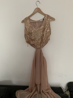 Rare london High Low Dress nude-beige