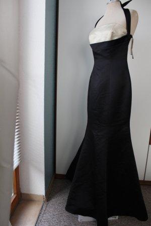 Ballkleid ca. 1,55 m lang Neckholder neu schwarz creme Gr. 38 Satin