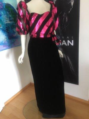Ballkleid Cocktail Kleid  samt Satin  gr 42 einmal getragen schwarz pink npr über 250