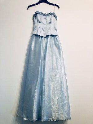 Ballkleid hellblau Corsage mit Rosen Gr. 38