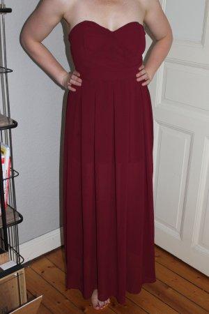 Ballkleid Kleid Trägerlos Bordeaux Rot