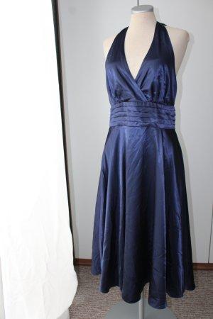 Ballkleid Satin Gr. 40 M L Neckholder dunkelblau neu debut Debenhams rückenfrei Kleid