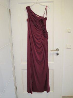 Ballkleid von manoukian mit viel Stretch und seitlicher Raffung, violett-rot