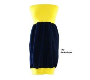 Robe ballon bleu foncé-jaune tissu mixte