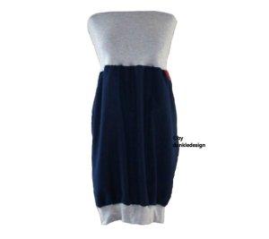 Robe ballon bleu foncé-gris clair tissu mixte