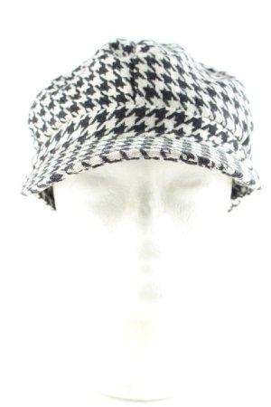 Ballonmütze weiß-schwarz Hahnentrittmuster Street-Fashion-Look