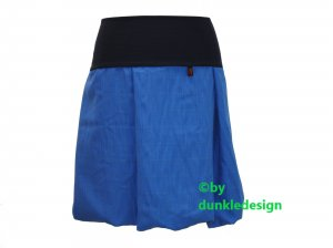 Jupe ballon bleu-bleu foncé coton