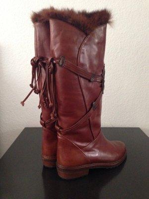 BALLY Designer Echtleder Stiefel,Gr.40,Boots,Cognac,Braun TOP,NEU