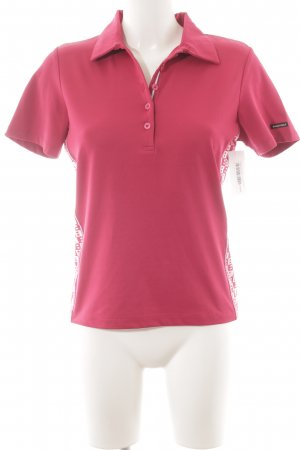 Bally Golf Polo-Shirt magenta-weiß Logo-Applikation