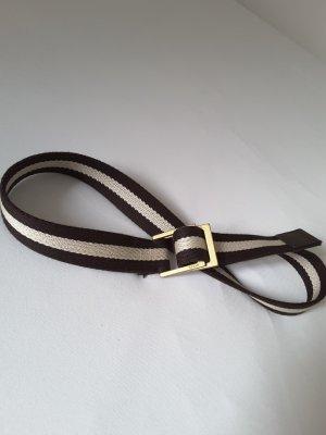 Bally Gürtel, Textil & Metall, braun-weiss-gestreift, Länge c. 85cm