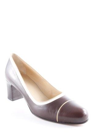 Bally High Heels dunkelbraun-creme klassischer Stil