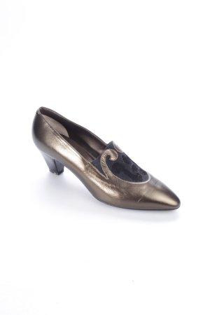 Bally Keil-Pumps bronzefarben-schwarz Eleganz-Look