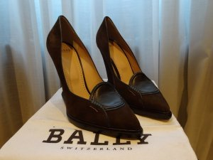 Bally Décolleté con zeppa marrone scuro-petrolio