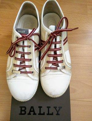 Bally Basket à lacet blanc cassé-rouge foncé cuir