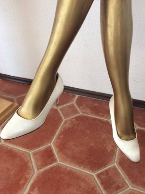 Bally Pumps white satin, 1x getragen!