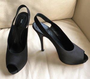 * BALLY * Sling Back Peep Toes High Heels Leder Seide Plateau Ger 40,5