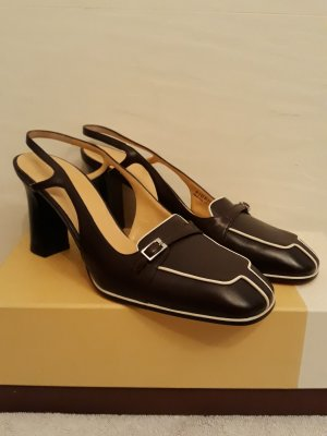Bally Slingback Pumps dark brown-natural white
