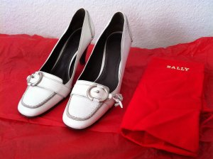 Bally Backless Pumps white leather