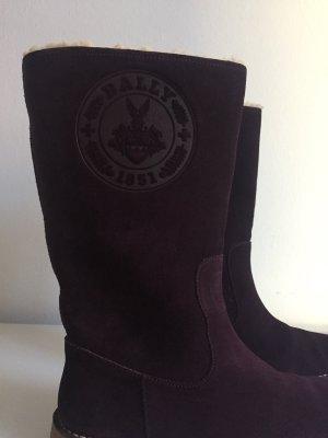 Bally Stiefel Gefüttert Dunkel Violett Wildleder Gr 42