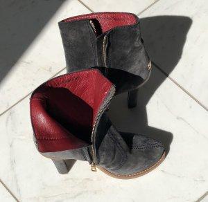 Bally Stivaletto con zip grigio-rosso scuro Pelle