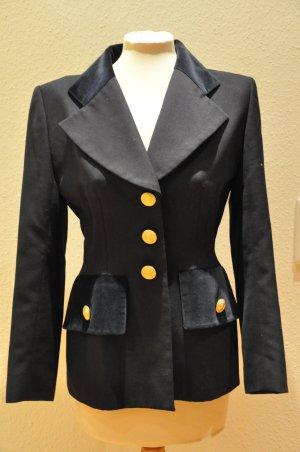 BALMAIN Blazer mit Samt, vintage, navy, preppy, style, blogger
