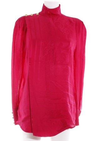 Balmain for H&M Langarm-Bluse himbeerrot-goldfarben abstraktes Muster Elegant