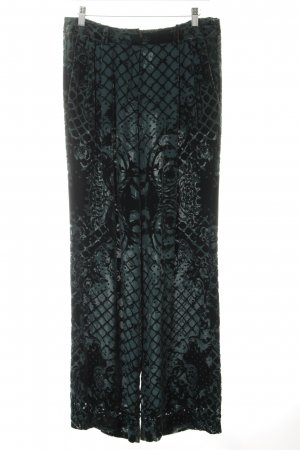 Balmain for H&M Pallazzohose dunkelgrün abstraktes Muster extravaganter Stil