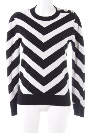 Balmain for H&M Strickpullover schwarz-weiß Streifenmuster Casual-Look