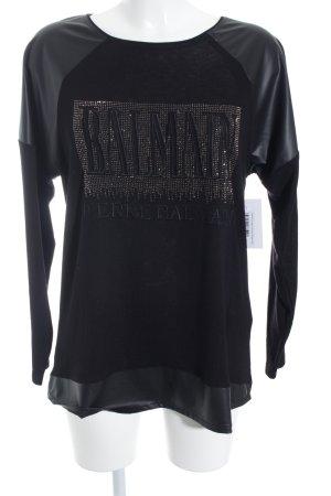Balmain Longshirt schwarz Glitzer-Optik