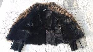 Balmain Veste de fourrure noir-chameau fourrure