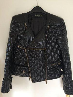 Balmain Quilted Nylon Jacke schwarz glänzend