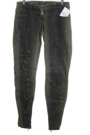 Balmain Röhrenjeans dunkelgrün-schwarz Farbverlauf Destroy-Optik