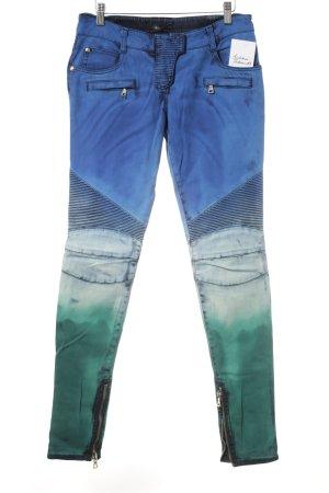 Balmain Slim Jeans blau-grün Farbverlauf extravaganter Stil