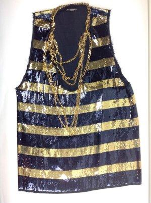 Balmain Top blau/gold mit Kette Gr. FR 40